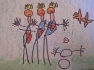 """¡¡¡Enero 2016!!! No podía ser de otra forma, sus Majestades los Reyes Magos, son los protagonistas. Dentro de unos días miles de niños estarán intentando concebir el sueño la noche del 5 de enero, con la intención de que pasen rápido las horas para a la mañana siguiente, ver si realmente, tuvo sus frutos eso de """"portarse bien"""" durante todo el año. Nuestro artista del mes tiene 5 años, y tenía bien claro que en la propuesta de dibujo libre eligiría a Melchor, Gaspar y Baltasar, para representarlos. ¿Qué puedo decir? me enamoré de la """"obra de arte"""", así que aquí está… """"Los 3 Reyes Magos"""", ENERO 2016"""