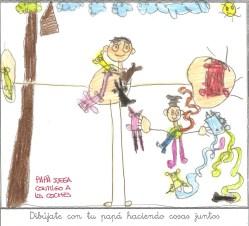 """El mes de Abril se lo dedico a los dibujos en los que los niñ@s se dibujan junto con sus papás o con sus mamás. Y éste que adjunto es claro ejemplo de lo mucho que significa para un niñ@ que su padre (en este caso) juegue, le enseñe o simplemente pase tiempo con él. Son su punto de referencia, su ejemplo, su modelo a seguir, y por supuesto sus héroes. """"El ejemplo tiene más fuerza que la regla"""" Nikolái Gógol. ABRIL 2015"""