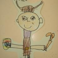 """M. 5 años. Febrero… este mes lo destacamos por que en el Blog publicaremos en unas semanas el Proyecto: Los Vikingos, y qué mejor que otorgar el dibujo de dicho mes a uno de los """"vikingos"""" de mi clase. En una mano un escudo y en la otra un hacha, preparado para trabajar y utilizar antes que la fuerza la """"cabeza"""", se presenta Michael el Vikingo. Mi pequeño amigo utilizó un rotulador fino de color grueso para dibujar, y diferentes colores de madera para colorear. Posteriormente con la tijera recortó el borde de su dibujo para que fuera parte de una composición donde todos los """"vikingos"""" estarían dentro del famoso Drakka (barco vikingo). """"Michael, el Vikingo"""", FEBRERO 2016"""
