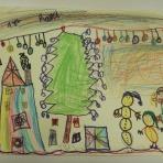 """A.R. 5 años, Diciembre… siempre será el mes navideño por excelencia y que así sea un y otro año. La ilusión y esperanza que despierta en los niños/as es desbordante, y aunque es evidente los riesgos de consumismo y comercialización que se asumen, «ellos» siguen viviendo esta época con la magia y la emoción que nunca debiéramos perder (niños y adultos). Os presento el dibujo de A.R. una niñavez de 5 años, preciosa y bondadosa que muy lejana a su religión (musulmana) y a su realidad (muy precaria), imagina un gran árbol de navidad en mitad de la sala de estar de su casa, acompañado de un gracioso muñeco de nieve, su hermana pequeña, y luces de colores. Esto último es lo que más me encanta de ella la vida que leno aporta a sus dibujos con colores, tooooodo lo colorea con millones de colores. """"Navidad llena de color"""", DICIEMBRE 2016"""
