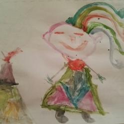 """Enero… año nuevo, vida nueva, ¡¡¡acuarelas nuevas!!! Esta es la expresión de los niños/as cuando entra material a estrenar en clase,… todo es emoción, todo es ilusión por experimentar, manipular, indagar. Así quedó el dibujo unade niña de 5 años, la cual está enamorada de los colores, y lo dejó bien claro con el resultado de este dibujo libre. Maravilloso. """"Acuarelas nuevas"""", ENERO 2017"""