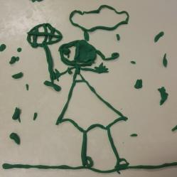 """A. 5 años. Abril, en el aula de5 años, se respira creatividad pura y dura, y se expresa a través de diferentes materiales… esta vez le tocó a la plastilina. Una pequeña princesa pirata, con parche incluido, es la que representa al lluvioso mes de ABRIL. """"Bailando bajo la lluvia"""" … ABRIL 2017"""