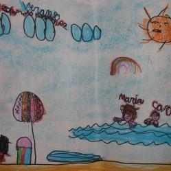 """Llegó Julio, y con él la playa, las piscinas, el camping, los viajes, la vuelta al pueblo, el no madrugar...y ¡¡el descanso!! Aún con todo, nuestros alumn@s no olvidan a sus compañer@s, y los reflejan en su idea de cómo serán sus ansiadas vacaciones. En esta ocasión, así lo hizo esta alumna de la clase de 5 años, que con gran esfuerzo no sólo aprendió a escribir su nombre y apellidos en letra mayúscula, si no que también finalmente, lo hizo en letra minúscula. Este detalle, es tan sólo uno más de los grandes progresos que hacen en la etapa de Ed. Infantil nuestros alumn@s, quedando reflejados como siempre, en los dibujos. Éstos siempre serán una buena táctica para comprobar los conocimientos adquiridos y mucho más. """"Cuando se dibuja algo, el cerebro y las manos trabajan juntos."""" Tadao Ando Para la realización de este dibujo utilizó rotulador fino negro, y después coloreó con cera Maxi Dac. El fondo lo rellenó con la cera """"tumbada"""", a mí es una técnica que me gusta mucho enseñarla por que podemos jugar a hacer sombras, fondos, y mucho más... """"El verano"""" mes de JULIO 2015"""