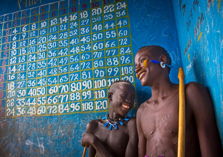 Mursi Tribe Boys In A School, Mago Park, Omo Valley, Ethiopia