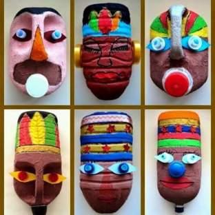 Cajas de plástico convertidas en Máscaras 2