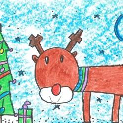 """Diciembre, """"Feliz Navidad"""". En mi nuevo colegio tienen por costumbre hacer un concurso de postales navideñas, y de mis """"pezqueñines"""" la postal ganadora fue este ciervo navideño taaann perfecto. Sobre una cartulina blanca de tamaño cuartilla, trazos de rotulador negro fino fueron desvelando este navideño ciervo y su abeto. El fondo lo completó con cera blanda tumbada. Enhorabuena al ganador"""