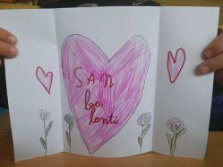 """Febrero, por excelencia es el mes del amor... y yo tengo un alumno G. 6años que se ha ganado el espacio de este mes para mostrar su entrañable dibujo. """"San ba lenti"""" ;) FEBRERO 2018"""