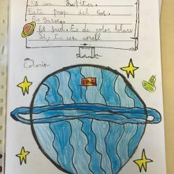 """Diciembre, me chifla este planeta inventado por A. de 7 años. Trabajábamos el proyecto """"Diario de un ingeniero"""" sobre el universo, y de repente surgió la idea de inventarnos cada uno nuestro propio planeta. Aquí lo tenemos """"Colorín"""", DICIEMBRE 2019"""