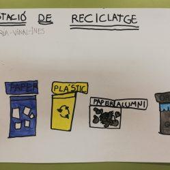 """Junio, se acaba el colegio y proyectos como el del reciclaje se acaban aquí. Unas niñas quisieron dejar constancia de los contenedores que había en la Estación de Reciclaje del pasillo. """"Estación de Reciclaje"""". JUNIO 2019"""